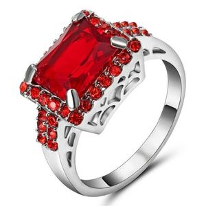 Red Ruby Big Stone Ring 18k White Gold Filled Ring